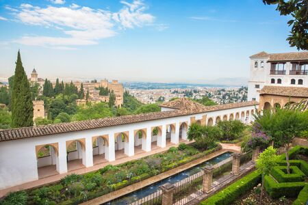 outlook: GRANADA, SPAIN - MAY 30, 2015: The outlook from the Generalife palace to Alhambra. Editorial