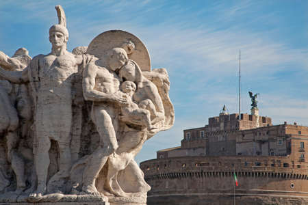 vittorio: ROME, ITALY MARCH - 21, 2012: Sculpture from Vittorio Emanuele bridge and Angel s castle in background. Editorial