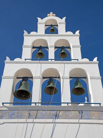 ia: Santorini - The bell tower on the orthodox church of Panagia in Oia (Ia). Stock Photo