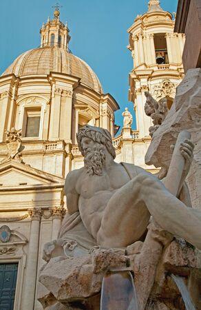 bernini: Rome - Piazza Navona in morning and Fontana dei Fiumi by Bernini and Santa Agnese in Agone church