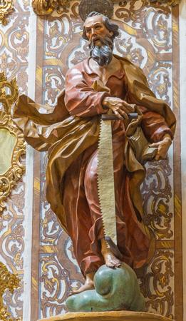 GRANADA, SPAIN - MAY 29, 2015: The carved statue of Saint Simon the apostle in church Nuestra Senora de las Angustias by Pedro Duque Cornejo (1718).
