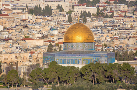 mount of olives: Jerusalem - Outlook from Mount of Olives to old city and Dom of Rock mosque