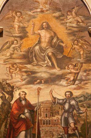 atar: VERONA - JANUARY 27: Resurrected Christ detail by Nicolaus Julfinus from st. Erasmus atar in Santa Anastasia church