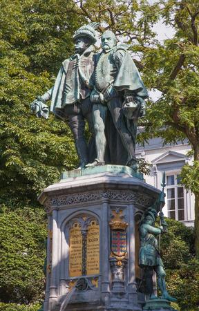 egmont: Brussels - La Fontaine Egmont et de Hornes from Place du Petit Sablon by artist C. A. Fraikin 1864