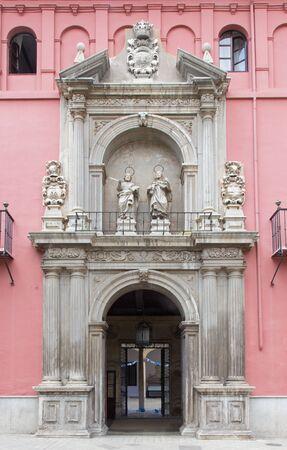 bartolome: GRANADA, SPAIN - MAY 29, 2015: The early baroque portal of Colegio Mayor San Bartolome y Santiago Editorial