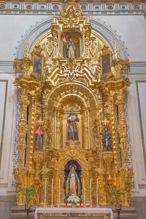 anton: GRANADA, SPAIN - MAY 29, 2015: The baroque side altar of Saint Anthony of Padua in Iglesia de san Anton church from 17. cent. by unknown artist.