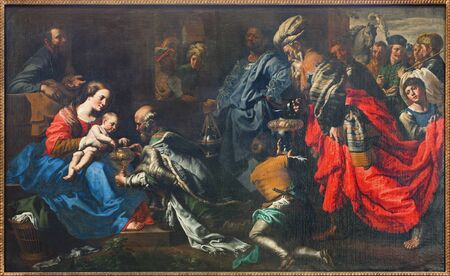 religiosity: BRUSSELS, BELGIUM - JUNE 21, 2012: Adoration of The Magi by painter Theodor van Loon from 17. cent. in the Saint Nicholas church.