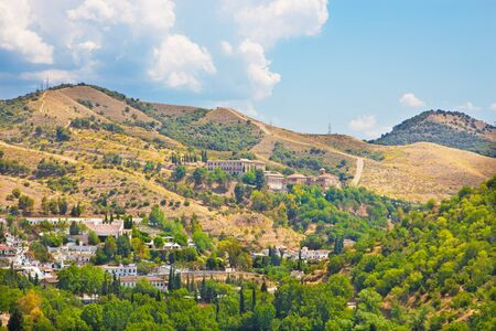 Granada - The outlook over the Albayzin district to Abadia del Sacromonte from Alhambra fortress.