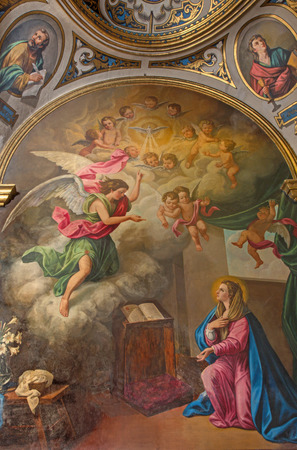 angel gabriel: SEVILLE, SPAIN - OCTOBER 28, 2014: The neo - baroque paint of Annunciation in church Capilla Santa Maria de los Angeles by Rafael Rodriguez Hernandez from 20 cent.