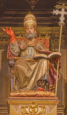 SEVILLE, SPAIN - OCTOBER 28, 2014: The carved polychrome symbolic statue of St. Peter in church Iglesia de San Pedro by Felipe de Ribas (1641 - 1657).