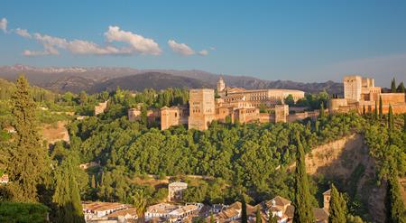 granada: Granada - The Alhambra palace and fortress complex in evening light.