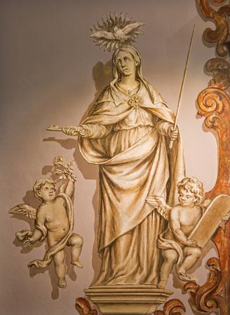 SEVILLE, SPAIN - OCTOBER 28, 2014: The baroque fresco of Virgin Mary in church Hospital de los Venerables Sacerdotes by Juan de Valdes Leal (1622 - 1690). Editorial