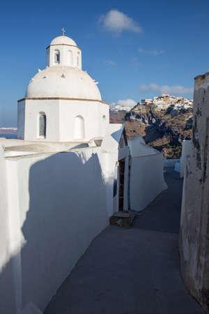 firostefani: Santorini - The outlook from little church in Fira to Firostefani and Imerovigli in morning light.