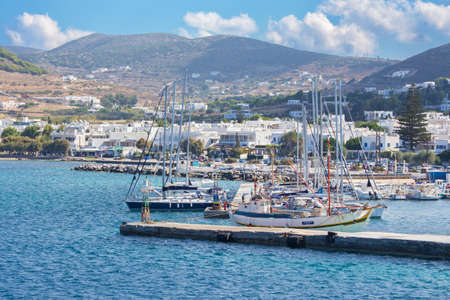 chora: CHORA, GREECE - OCTOBER 6, 2015: The harbor in Chora town on the Ios island in the Aegean Sea (Greece).