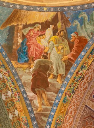 salesian: ROME, ITALY - MARCH 10, 2016: The detail of fresco of Nativity (1957-1965) in cupola of church Basilica di Santa Maria Ausiliatrice by the Salesian priest and artist Don Giuseppe Melle.