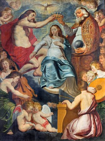 coronation: ANTWERP - SEPTEMBER 5: The Coronation of Virgin Mary painting by Aernout Wickenborg from 17. cent. in St. Pauls church (Paulskerk),