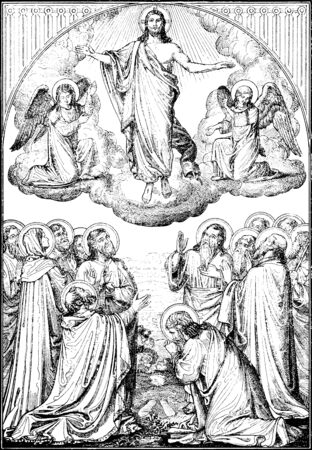 lithography: SEBECHLEBY, SLOVAKIA - JULY 27, 2015: The  Ascension of the Lord lithography by artist Scheuchl 1907 in the book Zivot Jezisa Krista bozskeho Spasitela naseho printed in Trnava. Editorial