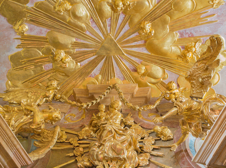 polychrome: VIENNA, AUSTRIA - FEBRUARY 17, 2014: Polychrome baroque Madonna statue from side chapel of st. Annes church.