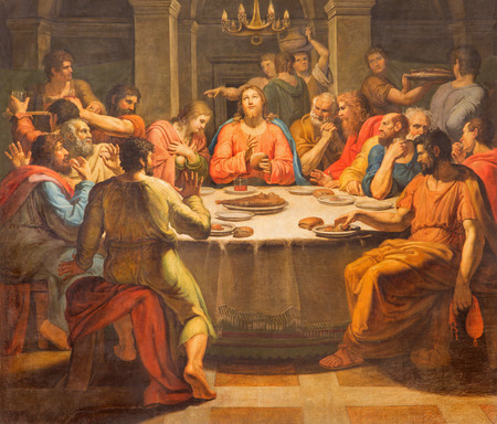 last supper: ROME, ITALY - MARCH 12, 2016: The Last supper paint in church Basilica di San Lorenzo in Damaso by Vincenzo Berrettini (1818).