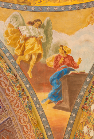 salesian: ROME, ITALY - MARCH 10, 2016: The detail of fresco of Annunciation (1957-1965) in cupola of church Basilica di Santa Maria Ausiliatrice by the Salesian priest and artist Don Giuseppe Melle. Editorial