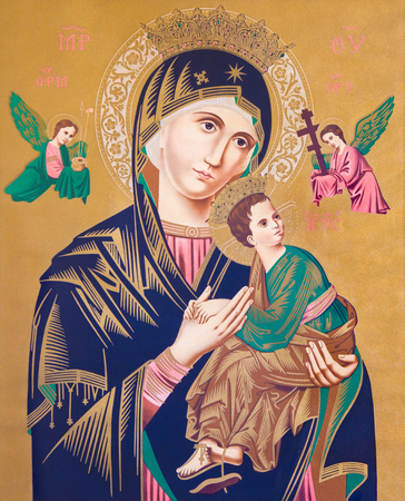 help: SEBECHLEBY, SLOVAKIA - FEBRUARY 26, 2016: Typical catholic image of Madonna with the child (Our Lady of Perpetual Help) printed in Germany from the end of 19. cent. originally by unknown painter.