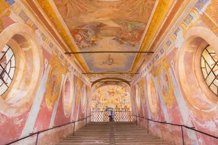 anton: BANSKA STIAVNICA, SLOVAKIA - FEBRUARY 20, 2015: The fresco of Ascension of the Lord on  Holy Stairs in the middle church of baroque calvary by Anton Schmidt from years 1745. Editorial