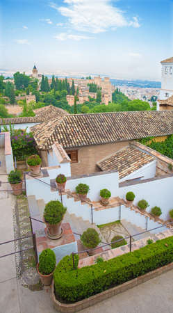 GRANADA, SPAIN - MAY 30, 2015: The outlook from the Generalife palace to Alhambra. Editorial