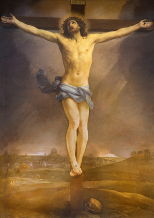 affiliation: ROME, ITALY - MARCH 25, 2015: The altarpiece of Crucifixion by Guido Reni (1640) in high alar of church Chiesa di San Lorenzo in Lucina.
