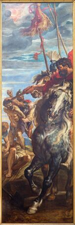 ANTWERP, BELGIUM - SEPTEMBER 4, 2013: The right panel from triptych Raising of the cross (1609 - 1610) by P. P. Rubens in the cathedral. Roman officer on horseback and crucifying the two thieves. Editorial