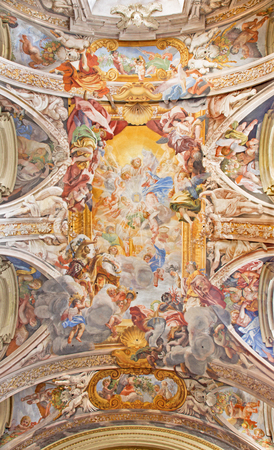ROME, ITALY - MARCH 12, 2016: Glory of the Name of Mary fresco by Filippo Gherardi (1692) in church Chiesa di San Pantaleo.
