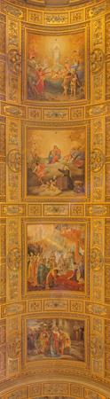 dogma: ROME, ITALY - MARCH 27, 2015: Detail of Fresco on the vault of Basilica di Sant Andrea della Valle by Salvatore Nobili (1865-1919), and Virginio Monti (1852 - 1942).