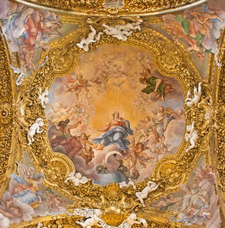 immaculate conception: ROME, ITALY - MARCH 12, 2016: The fresco of The Immaculate Conception in the main cupola in Chiesa di Santa Maria del Orto by 1706 by Giuseppe and Andrea Orazi (1706).