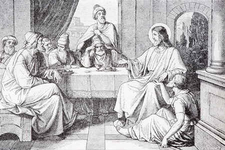 lithography: SEBECHLEBY, SLOVAKIA - JULY 27, 2015: The Supper in the House of Simon Pharisee lithography by unknown artist in the book Zivot Jezisa Krista bozskeho Spasitela naseho printed in Trnava 1907 .