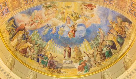 salesian: ROME, ITALY - MARCH 10, 2016: The Coronation of Our Lady fresco (1957-1965) in main apse of church Basilica di Santa Maria Ausiliatrice by the Salesian priest and artist Don Giuseppe Melle.