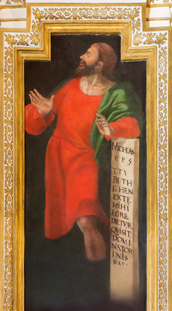 prophet: CORDOBA, SPAIN - MAY 27, 2015: The fresco of prophet Micah in church Iglesia de San Augustin from 17. cent. by Cristobal Vela and Juan Luis Zambrano.