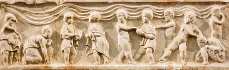 christian altar: BRUSSELS, BELGIUM - JUNE 16, 2014: The old christian relief as the altar stone in church of Jean et St Etienne aux Minimes.