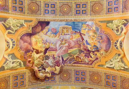 melle: ROME, ITALY - MARCH 10, 2016: The Offering of the Sacrifice of the Body and Blood of Christ fresco (1957-1965)  on vault of church Basilica di Santa Maria Ausiliatrice by the Salesian artist G. Melle.