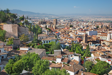 outlook: Granada - The outlook over the town with the Cathedral