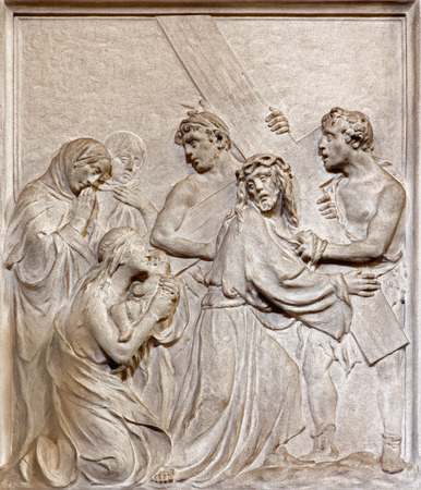 BRUSSELS, BELGIUM - JUNE 15, 2014: Stone relief of Jesus meet the women of Jerusalem in church Notre Dame du Bon Secource (The Church of Our Lady of Assistance). Editorial