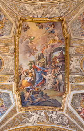 new testament: ROME, ITALY - MARCH 9, 2016: The vault fresco The Raising of Lazarus at the Prayer of His Sister Mary in church Chiesa di Santa Maria Maddalena in Campo Marzio by Michelangelo Cerruti (1663 - 1749).