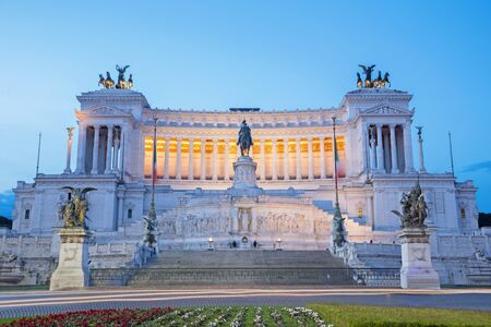 vittorio emanuele: Rome - Vittorio Emanuele Landmark at dusk Stock Photo