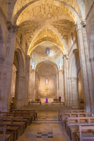 nave: JERUSALEM, ISRAEL - MARCH 5, 2015:The gothic nave of St. Anne church