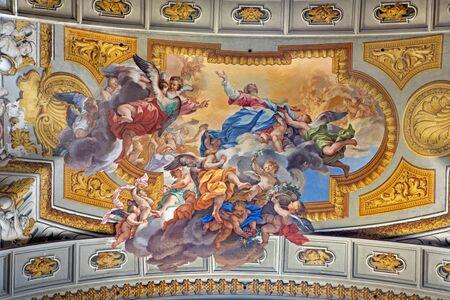 ignacio: ROME, ITALY - MARCH 10, 2016: The fresco of Assumption of Virgin Mary by Ludovico Mazzanti (1686 - 1775) in side chapel of church San Ignacio. Editorial
