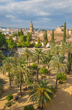 alcazar: CORDOBA, SPAIN - MAY 25, 2015: The outlook from castle Alcazar de los Reyes Cristianos to the Cathedral.