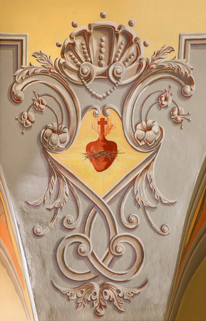 spiritually: SEBECHLEBY, SLOVAKIA - FEBRUARY 26, 2016: The Neo baroque fresco in parish church of St. Michael with the heart of Jesus.