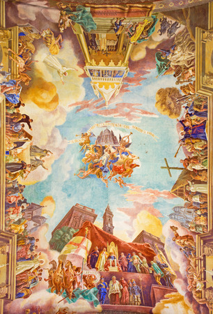 ROME, ITALY - MARCH 10, 2016: The fresco Triumphs of the Church over the Ottomans (1957-1965) on vault of church Basilica di Santa Maria Ausiliatrice by Salesian priest and artist Don Giuseppe Melle.