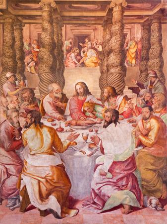 ROME, ITALY - MARCH 12, 2016: The Last supper fresco in Oratorio del Gonfalone by Livio Agresti (1505 - 1579)