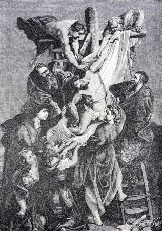 lithography: SEBECHLEBY, SLOVAKIA - JULY 27, 2015: The lithography of Deposition of the cross after Rubens (1906) in the book Zivot Jezisa Krista bozskeho Spasitela naseho by unknown artist printed in Trnava.