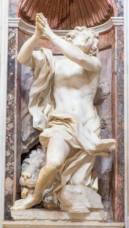 bernini: ROME, ITALY - MARCH 9, 2016: The prophet Daniel marble statue by Gian Lorenzo Bernini (1655) in The Chigi chapel in church Basilica di Santa Maria del Popolo.