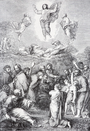 lithography: SEBECHLEBY, SLOVAKIA - JULY 27, 2015: The Ascension of the Lord lithography by unknown artist in the book Zivot Jezisa Krista bozskeho Spasitela naseho printed in Trnava 1907 .